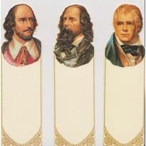 Trois Grands Ecrivains en marque-pages : Walter Scott, Shakespeare et Tennyson.