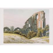 """""""Les Ruines d'Eldena"""" de Caspar David Friedrich, tableau reproduit en carte postale."""