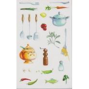 """Stickers sur le thème de la """"Cuisine"""", planche de stickers"""