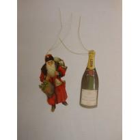 Père Noël et Bouteille de Champagne, étiquettes pour cadeaux de Noël
