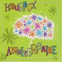 Bouquet d'anniversaire sur carte postale