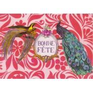 Carte de Bonne Fête avec des paons