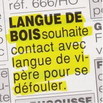 """Carte humoristique : """"Langue de Bois cherche Langue de Vipère """"!"""
