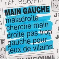 """Carte humoristique """"Main gauche et ... jeux de mains !"""""""