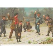 Bataille de boules de neige, carte de Noël