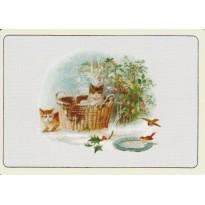 Paix de Noël entre chatons et petits oiseaux : mini-cartes et étiquettes cadeaux