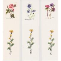 Jeu de 3 marque-pages à fleurs : anémone, rose et nigelle
