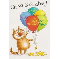 Carte Danniversaire Humoristique Le Chat Aime Les Ballons Et Sort