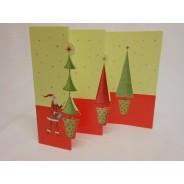 Père Noël aux 3 sapins, carte en 3 volets à ouvrir.