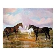 """""""Chevaux dans la Prairie"""", reproduction sur toile d'un tableau ancien."""