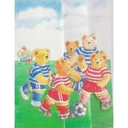 Match de foot chez les Oursons, mini-carte 3D pour enfants.