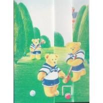 Partie de croquet chez les Oursons, carte pour enfants.