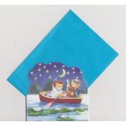 Sérénade chez les Oursons en canoë sur le lac, cartes pour enfants