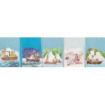 Les Oursons et la mer, jeu de 5 cartes 3D différentes pour enfants