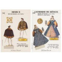Couple royal : Catherine de Médicis et Henri II, cartes maquettes à découper
