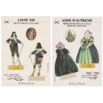 Couple royal : Louis XIII et Anne d'Autriche, cartes maquettes à découper