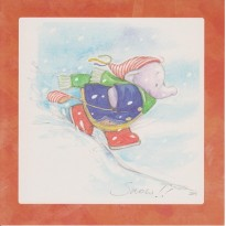 Jack l'Elephanteau dans la neige, carte de Noël pour enfants