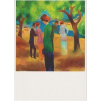 """La Dame en veste verte"" de August Macke, reproduction sur carte postale"