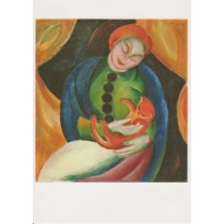 """Jeune Fille au Chat"" de Franz Marc, carte postale reproduction"