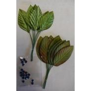 Accessoires scrapbooking et décorations : Feuillages et perles bleues