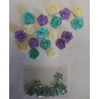 Roses blanches, bleues et mauves en miniatures pour scrapbooking et loisirs créatifs