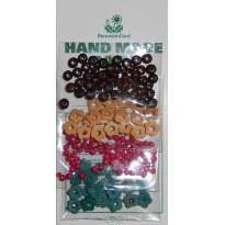 Perles en bois rondes ou formes de fleurs en 4 couleurs pour loisirs créatifs