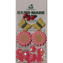 Papillons, coccinelles et fleurs miniatures pour créations scrapbooking.