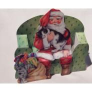 Le Chat du Père Noël - carte de Noël en 3D