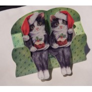 Chats et le Christmas Pudding- carte de Noël en 3D