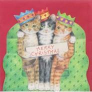 Les chats en Rois Mages souhaitent un Joyeux Noël- carte de Noël en 3D