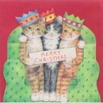 """Les chats en """"Rois Mages"""" souhaitent un Joyeux Noël- carte de Noël en 3D"""