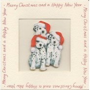 Carte de Noël  avec Magnet Trois petits Dalmatiens