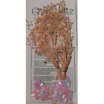 Gerbes naturelles pailletées miniatures et coeurs de fleurs roses pour créations scrapbooking.