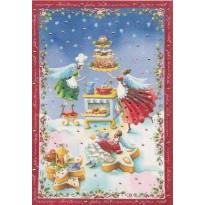 Petits gâteaux de l'Avent préparés par les fées, carte de Noël