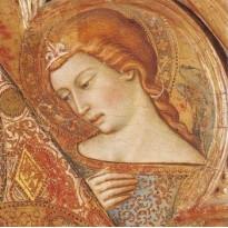 Vierge à l'Enfant -carte reproductjion du détail du tableau attribué à Luca Di Tomme