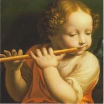 Ange jouant de la flûte, carte reproduction d'une oeuvre de Bernardino Luini