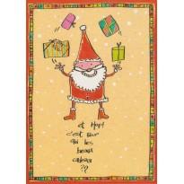 Père Noël en clown jongleur, carte de Joyeux Noël pour les enfants