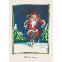 Père Noël au guidon, carte de Joyeux Noël
