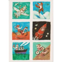 Comment le Père Noël se déplace-t-il ? Carte pour enfants