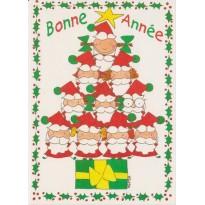 Pères Noël faisant le sapin, trouvez l'intrus, carte pour enfants