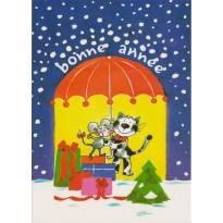 Entente cordiale pour Nouvel An entre chat et souris - Carte de voeux humoristique