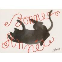 Le Chat vous souhaite Bonne Année - carte de voeux humoristique