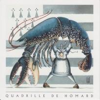 Quadrille de homard breton, carte postale recette