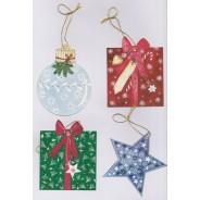 Jeu d'étiquettes en forme de boules, cadeaux et étoiles de Noël