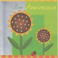 """Carte """" Bon Anniversaire"""" Fleurs de Soleil"""