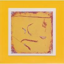 Oeuvre graphique de Florence Roqueplo Harmonie en jaune sur carte postale cadre.