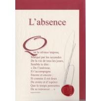 """""""L'Absence"""" poème de Raphaël Romero sur carte double."""
