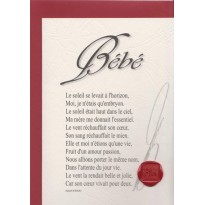 """""""Bébé"""" poème de Raphaël Romero sur carte double."""