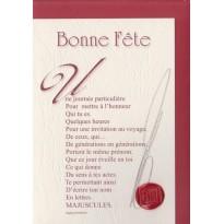 """""""Bonne Fête, une journée particulière"""" poème de Raphaël Romero sur carte double."""