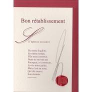 """""""Bon Rétablissement"""" poème de Raphaël Romero sur carte double."""